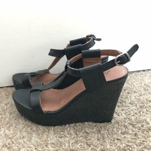 LUCKY BRAND BLACK WEDGES. NEVER WORN.